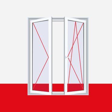 Balkontür zweiflügelig, Dreh Links / Dreh Kipp Rechts (DL/DKR), Breite 1200mm