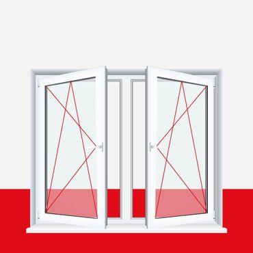 2-flügliges Kunststofffenster Weiß Dreh-Kipp / Dreh-Kipp mit Pfosten – Bild 1