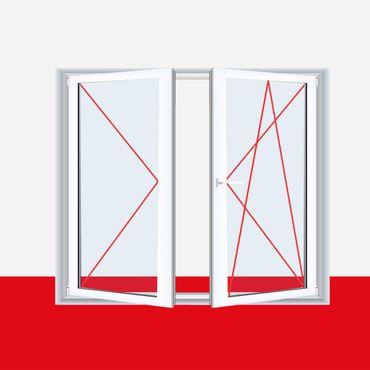 2-flügliges Kunststofffenster Weiß DL/DKR o. DKL/DR mit Stulp – Bild 2