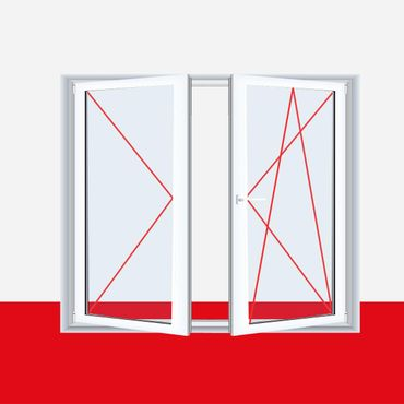 2-flügliges Kunststofffenster Brillantblau DL/DKR o. DKL/DR mit Stulp ? Bild 3