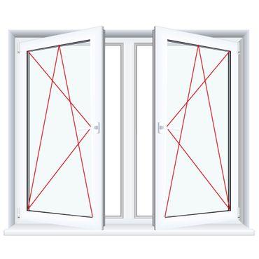 2-flügliges Kunststofffenster Streifen Douglasie (Innen und Außen) Dreh-Kipp / Dreh-Kipp mit Pfosten ? Bild 4