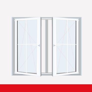 Sprossenfenster Typ 4 Felder Weiß 2 flg. DK-DK Kunststofffenster 8mm Kreuzsprosse ? Bild 1