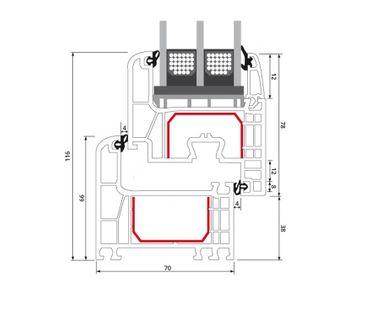 Sprossenfenster Typ 4 Felder Weiß 2 flg. DK-DK Kunststofffenster 18mm Kreuzsprosse ? Bild 7