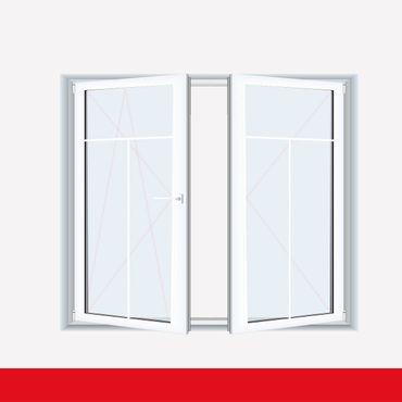 Sprossenfenster Typ 3 Felder Weiß 2 flg. Stulp Kunststofffenster 8mm T-Sprosse ? Bild 1