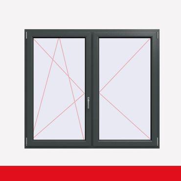 2-flüglige Balkontür Kunststoff Stulp Schiefergrau Glatt beidseitig ? Bild 1