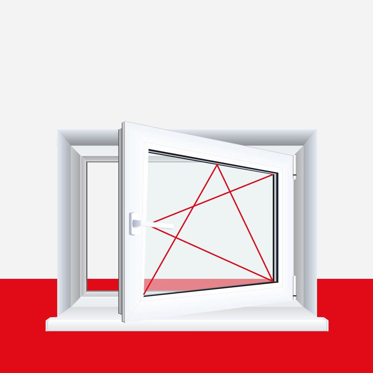 Premium 3 fach Verglasung Dreh-Kipp BxH:60x45 cm DIN Rechts Fenster Kellerfenster Kunststofffenster wei/ß ALLE GR/Ö/ßEN