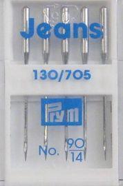 5 Qualitäts Nähmaschinennadeln 130/705 JEANS 90 Jeansnadel Flachkolben