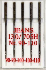 Nähmaschinennadeln Jeans  5 Nadeln  Typ 130/705 Flachkolben