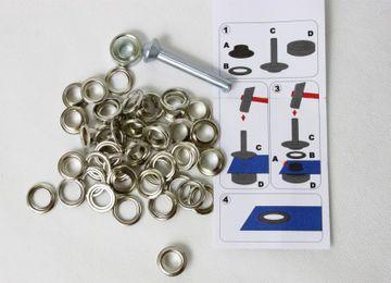 100 Ösen mit  Scheiben 8 mm Innen Silberfarben inkl. Werkzeug rostfrei Messing
