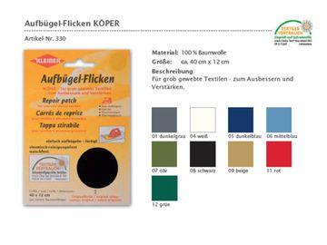 Aufbügel Flicken Reparatur fester Stoff Köper 40x12 cm verschiedene Farben