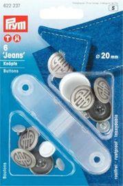 6 Qualitäts Nähfrei Jeansknöpfe mit Werkzeug  Ersatzknopf alteisen Artdeco 20 mm