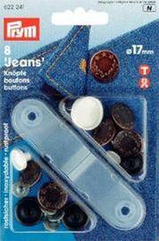 8 Nähfrei JeansKnöpfe Messing altkupfer Lorbeerkranz 17 mm mit Werkzeug (Variozange)