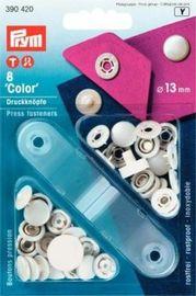 10 Nähfrei Druckknoepfe weiß Messing 13 mm mit Werkzeug
