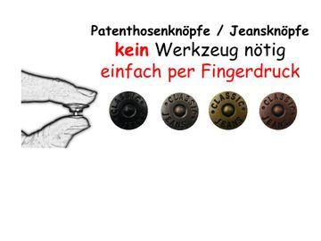 10 Qualitäts Nähfrei Jeansknöpfe  Patentknöpfe 16 mm Ersatzknopf schwarz