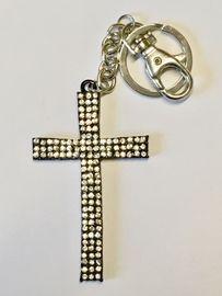 Schlüsselanhänger Taschenanhänger Strass Kreuz schwarz metall