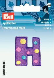 Applikation Buchstabe H violett/bunt 3x 3cm  Aufbügler Label Flicken