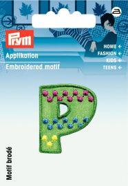 Applikation Buchstabe P grün/bunt 3x 3cm  Aufbügler Label Flicken