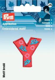 Applikation Buchstabe Y rot/bunt 3x 3cm  Aufbügler Label Flicken