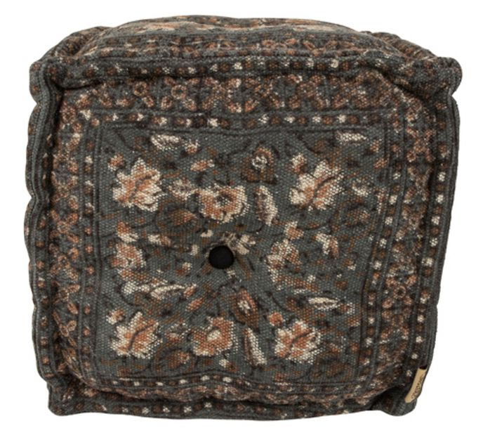 Dutch Bone Pouf INDIAN BLOCK GREY