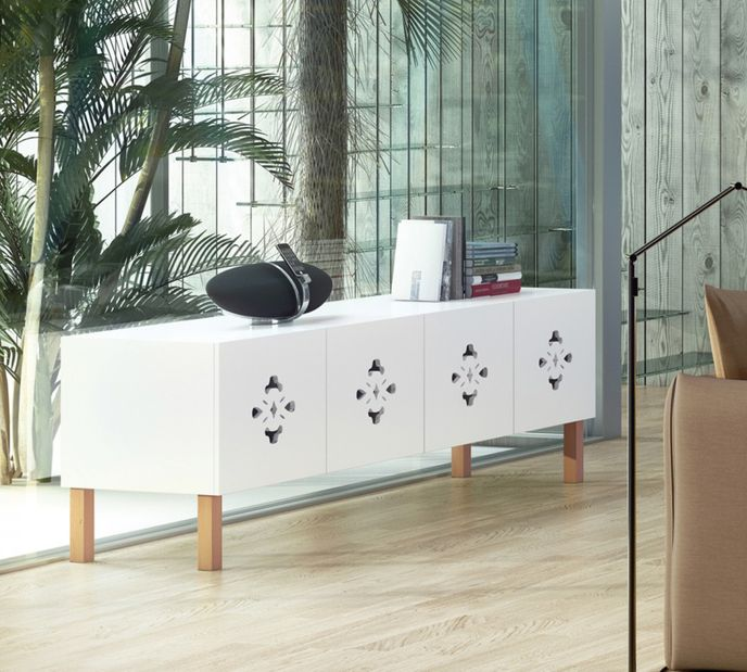 TemaHome Lowboard Scatola Armonica in Pure-White / Eiche  Limited Edition  200cm