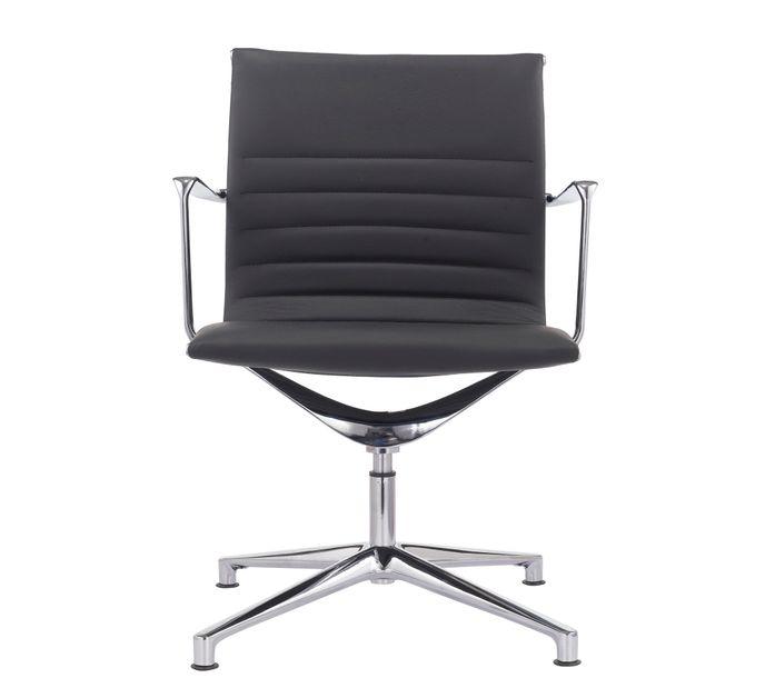 Gabler Premium Besucher-/ Konferenzstuhl 1030B Echt Leder schwarz – Bild 2