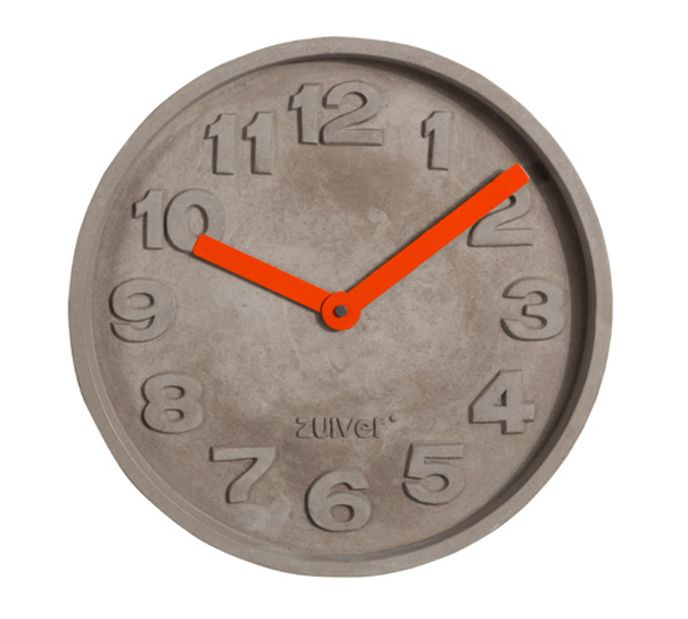 Zuiver Wanduhr Concrete Time orange