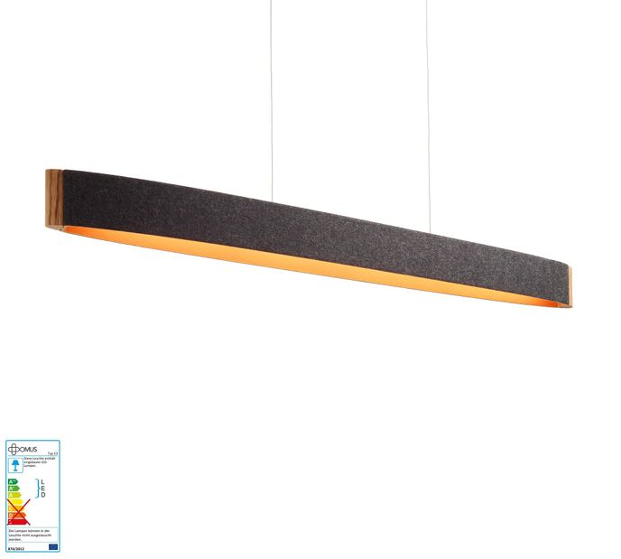 Domus ZEP 13 mit 32W LED Pendelleuchte in Wollfilz graphit/orange