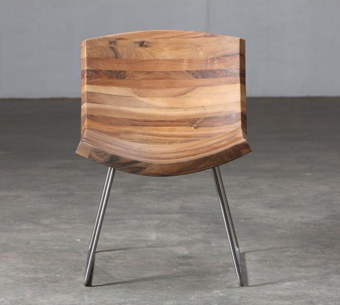 Artisan Holzsessel CHUNK aus Massivholz Nussbaum geölt - Ausstellungsstück – Bild 2
