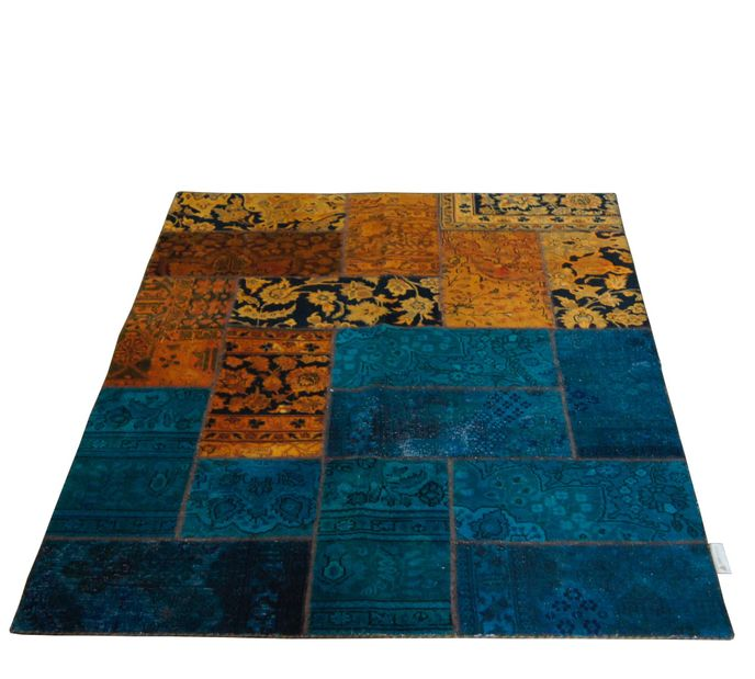 Vintage Carpets 147x210cm Persian Patchwork Teppich handgeknüpft orange / petrol – Bild 1
