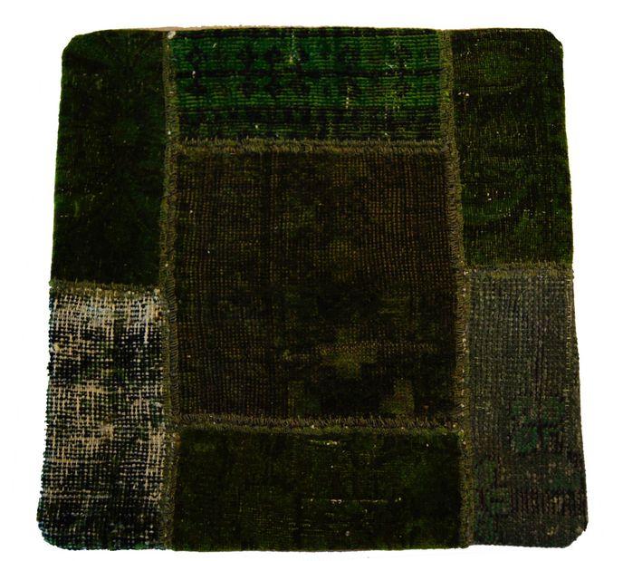 Vintage Carpets Kissenhülle 50x50cm Persischer Teppich Patchwork grün