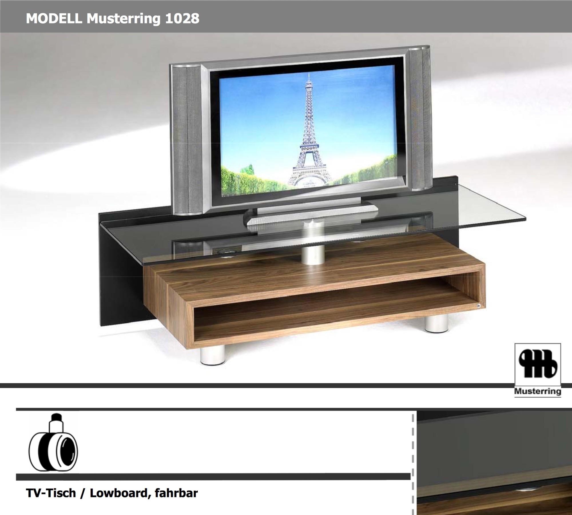 musterring tv tisch 1028 nussbaum mit glasplatte und rollen 10008286. Black Bedroom Furniture Sets. Home Design Ideas