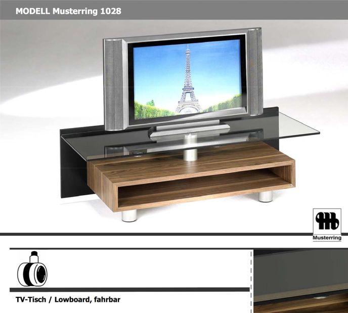 Musterring TV-Tisch 1028 Nussbaum mit Glasplatte und Rollen – Bild 2