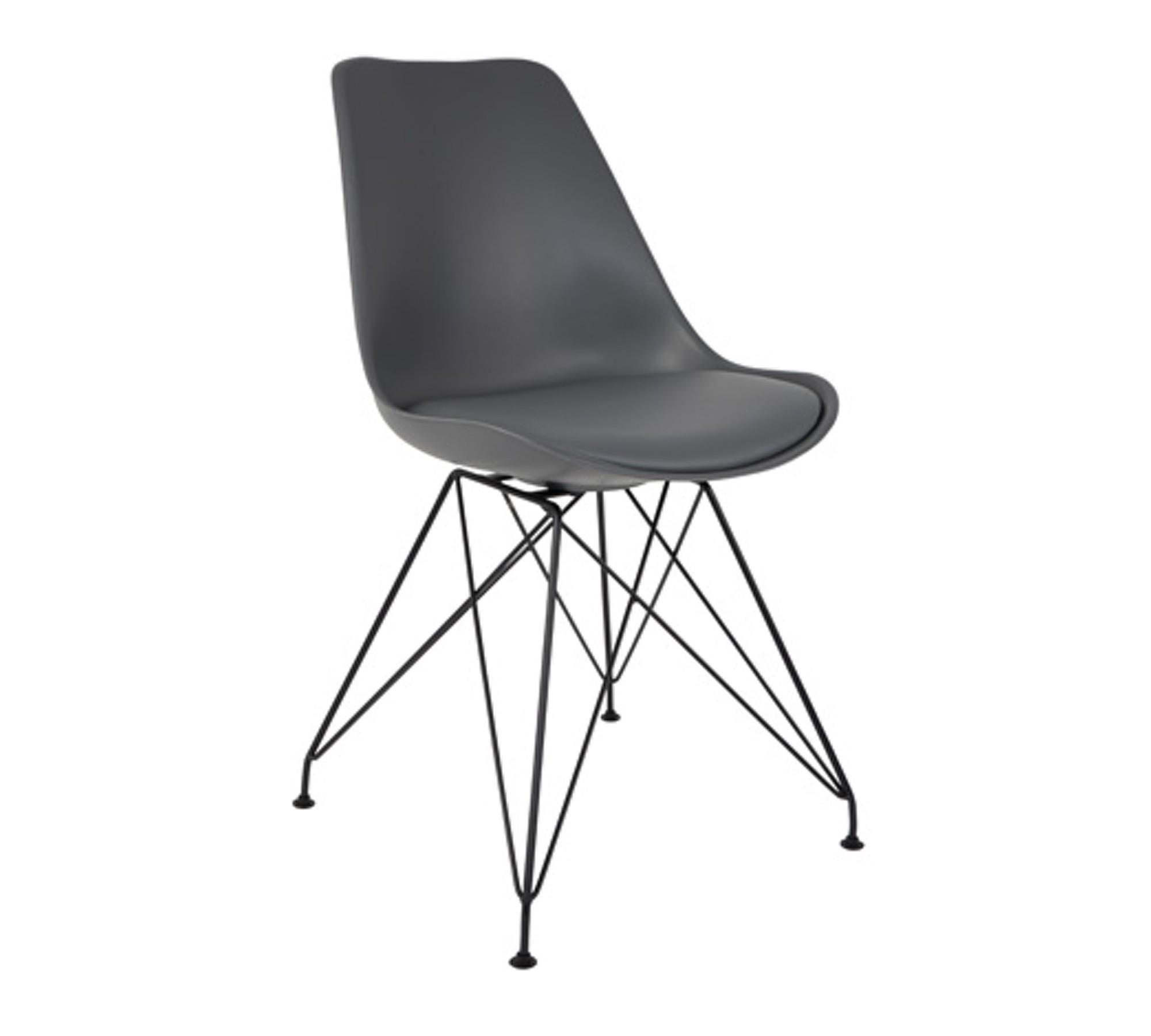 zuiver stuhl ozzy grau mit metallgestell im 2er set 10008302. Black Bedroom Furniture Sets. Home Design Ideas