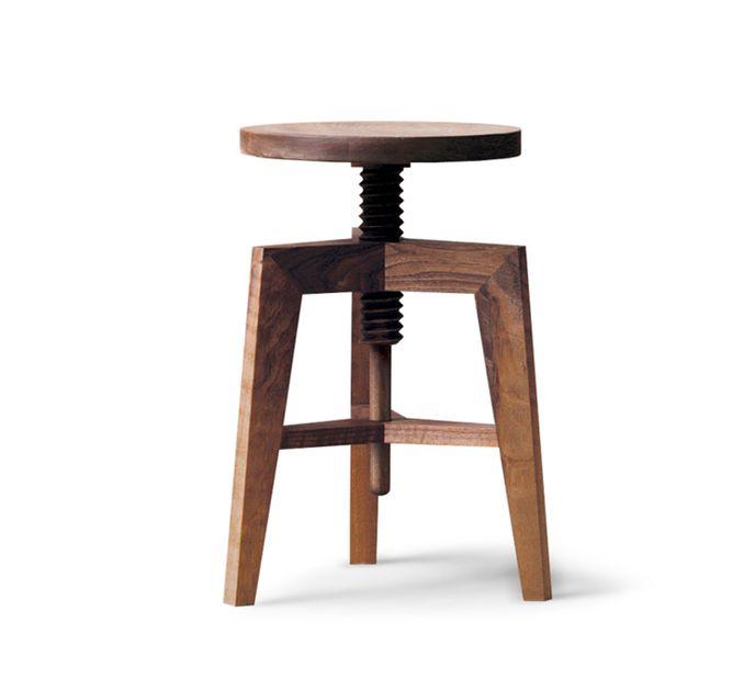 Mint Design SCREW Hocker M1301 niedrige Version aus Massivholz