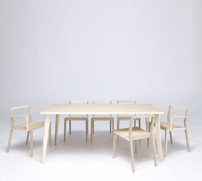 Mint Design Tisch Quattro rechteckig Echtholz in Nussbaum, Eiche oder Esche – Bild 7