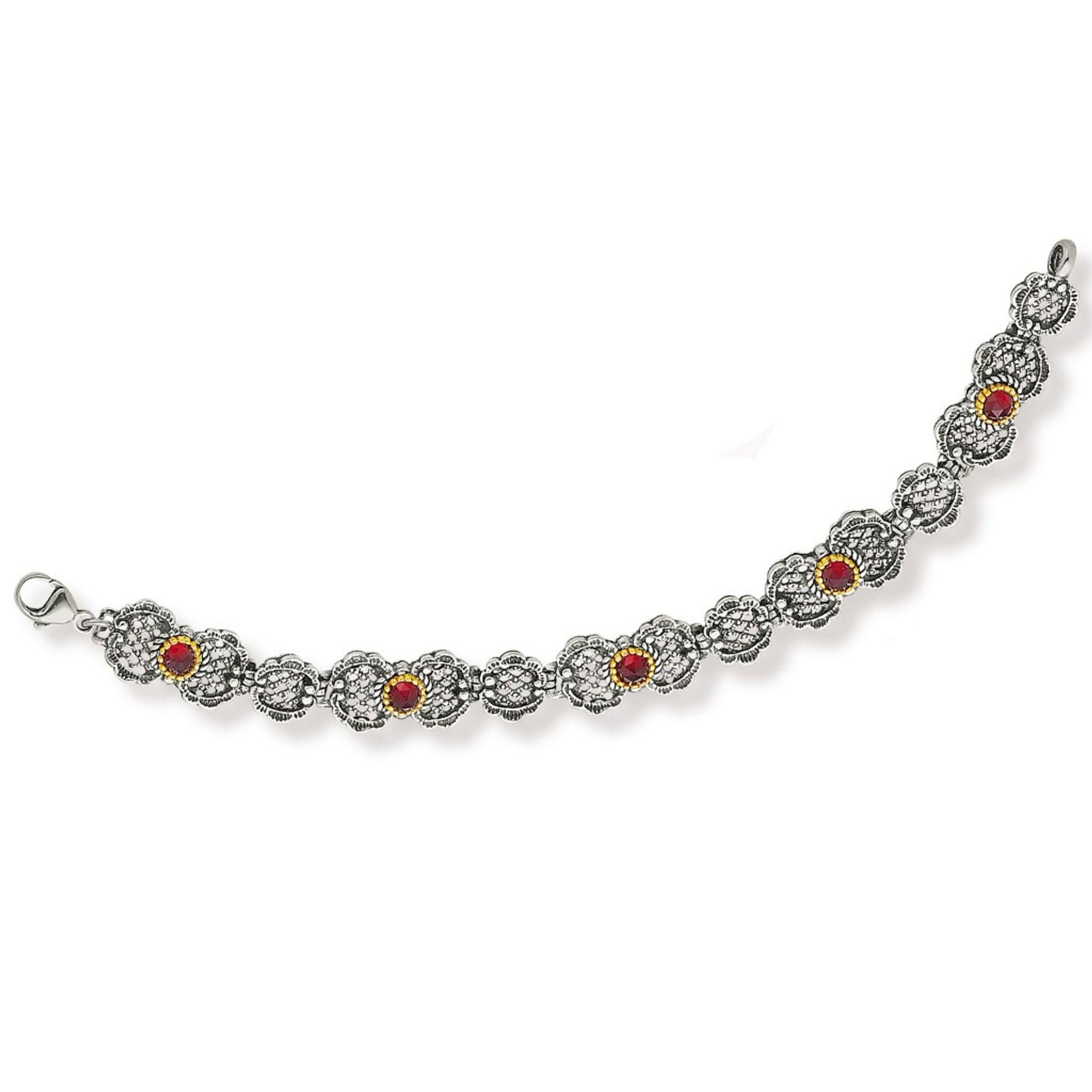 Tom Hill 41.9012 Damen Armband Silber bicolor Granat rot 18 cm