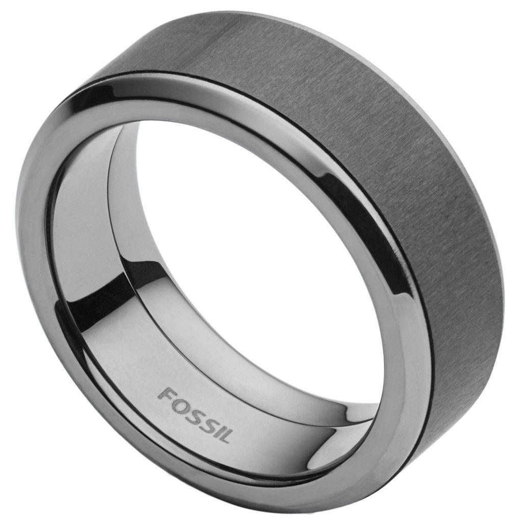 Fossil JF02368 Herren Ring Edelstahl  Grau 66 (21.0)