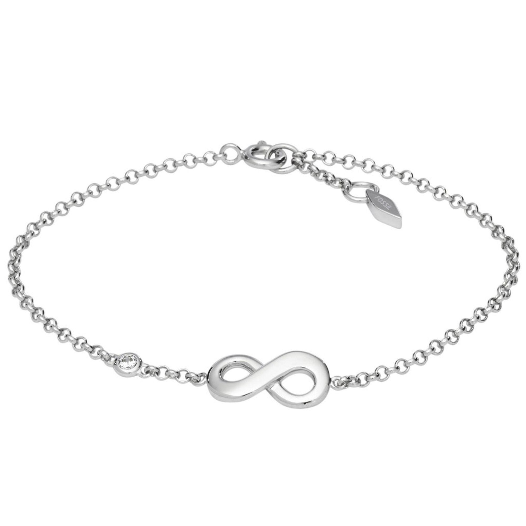 verschiedene Stile viele Stile Schönheit Fossil JFS00393 Damen Armband unendlich infinity Silber Weiß 18,5 cm | City  Juwelier Markenuhren und Markenschmuck