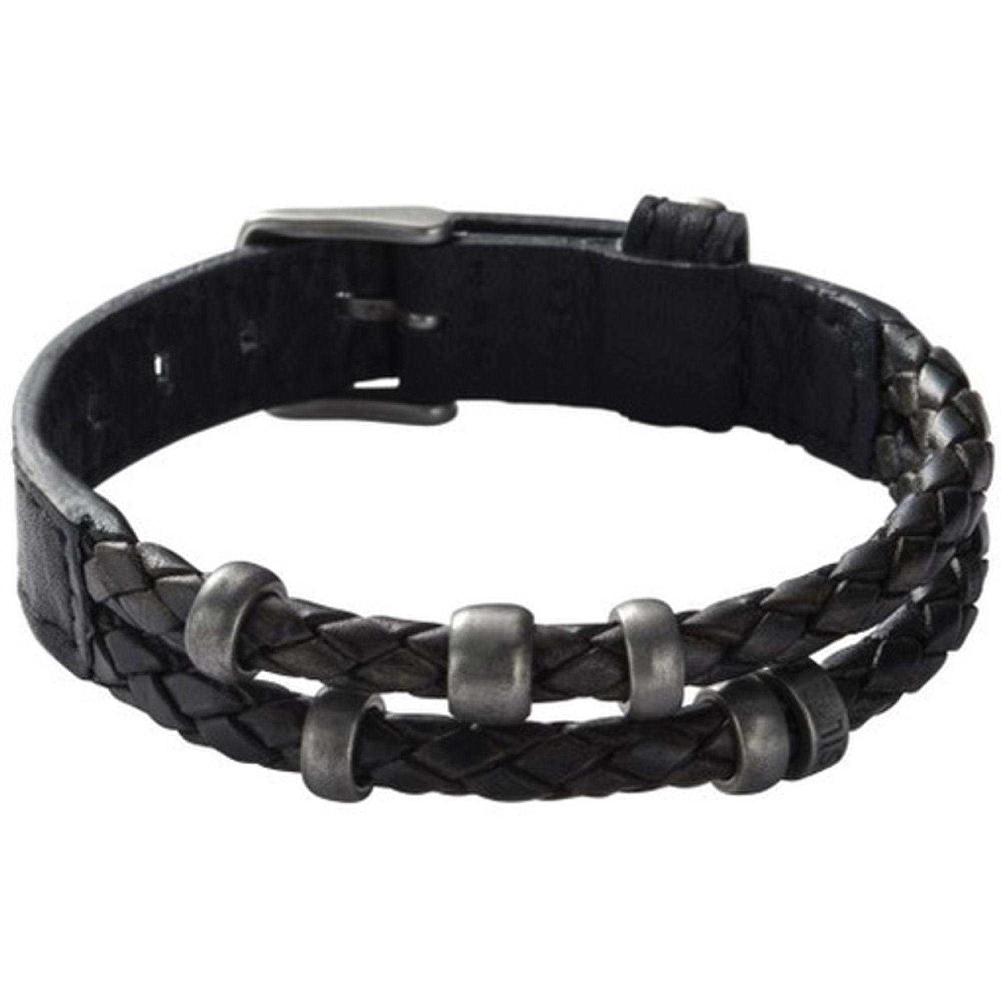 Fossil JF85460 Herren Armband JF 85460 Leder schwarz used Look