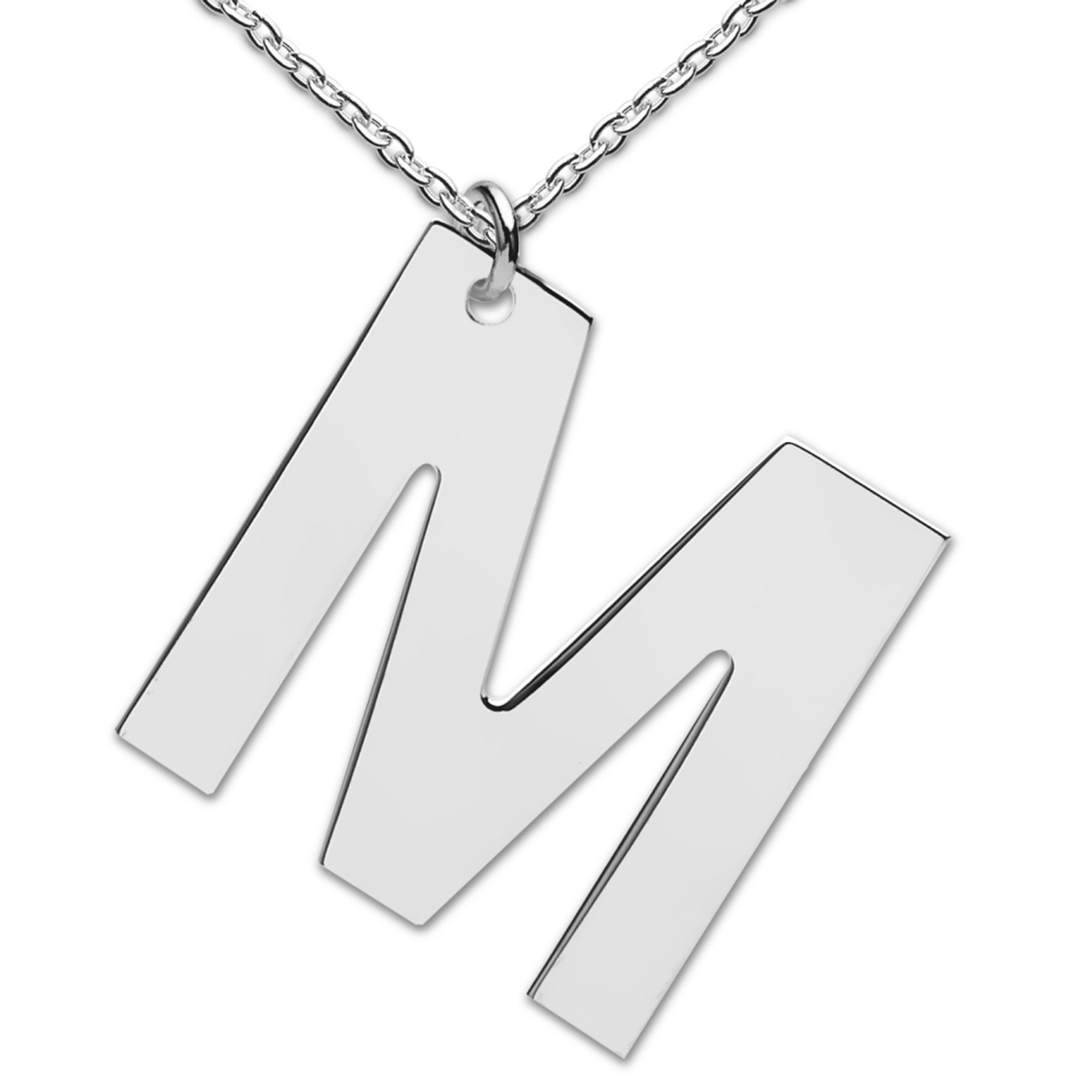 heart to get LB154INM16S Collier Big Initial letter M Silber 48 cm