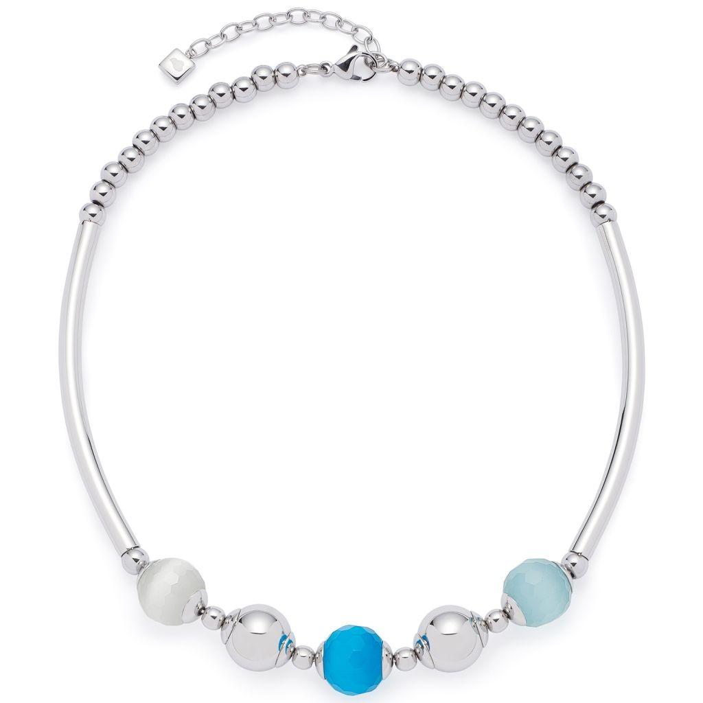 Leonardo 016233 Damen Kette Bolla Edelstahl Silber Blau 45 cm