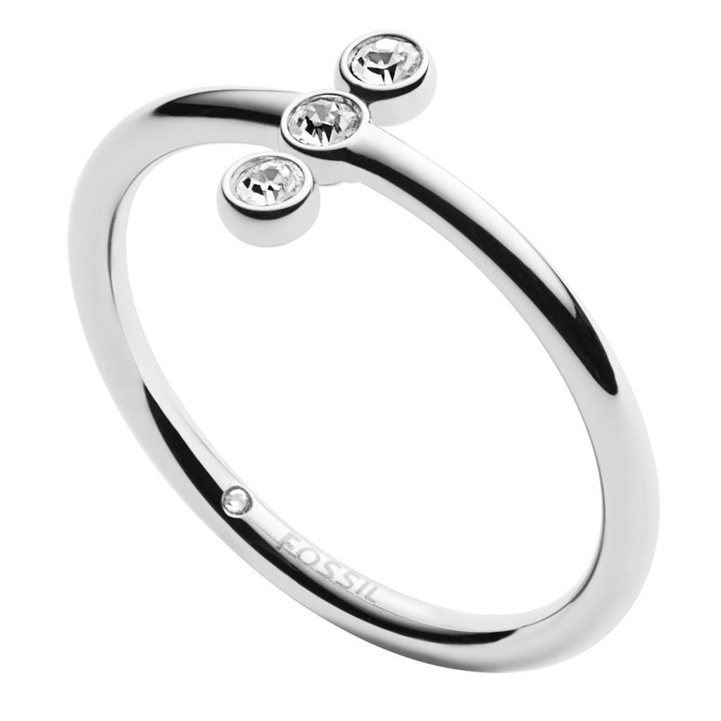 Fossil JF02592040510 Damen Ring Edelstahl Silber Weiß 60 (19.1)