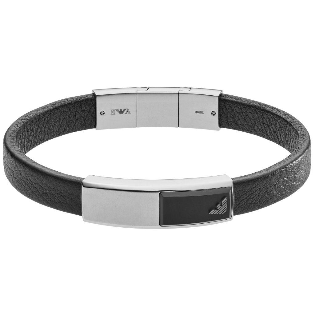 Emporio Armani EGS2288040 Herren Armband Silber Schwarz 20 cm