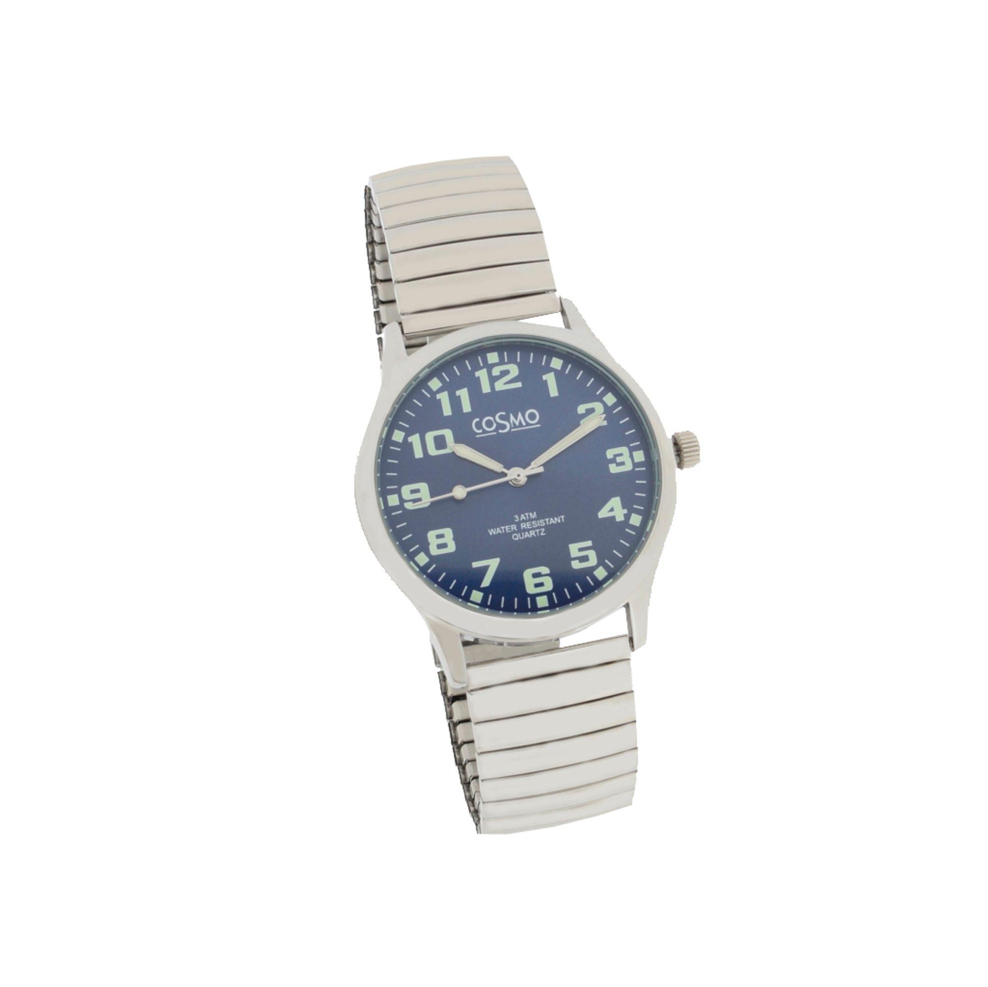 Cosmo 281116-ZB-ZI-blau Uhr Herrenuhr Zugband silber