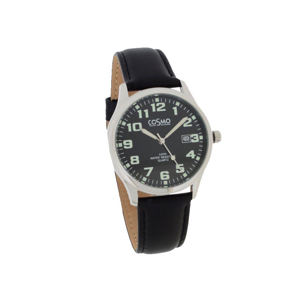 Cosmo 301116-LB-ZI-schwarz Uhr Herrenuhr Lederarmband Datum schwarz