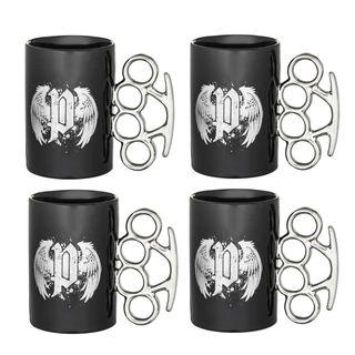 4 er Set POLICE Kaffeetasse Schlagring Porzellan schwarz