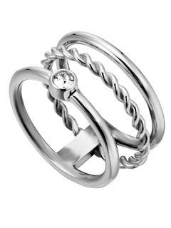 Esprit ESRG00042117 Damen Ring Loris Edelstahl Silber Weiß 53 (16.9) Esprit ESRG00042117 Damen Ring Loris Edelstahl Silber Weiß 53 (16.9)