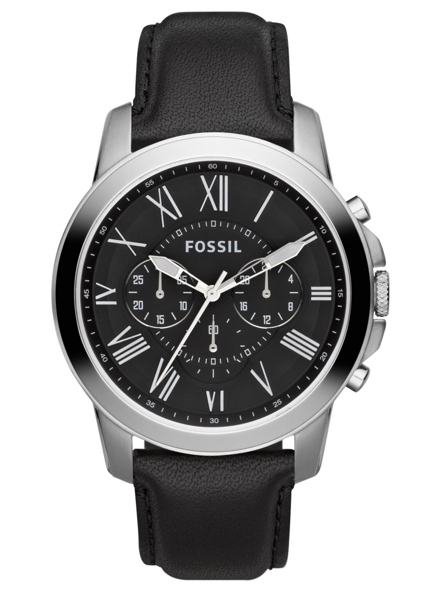 Fossil FS4812IE GRANT Chronograph Uhr Herrenuhr Lederarmband Schwarz