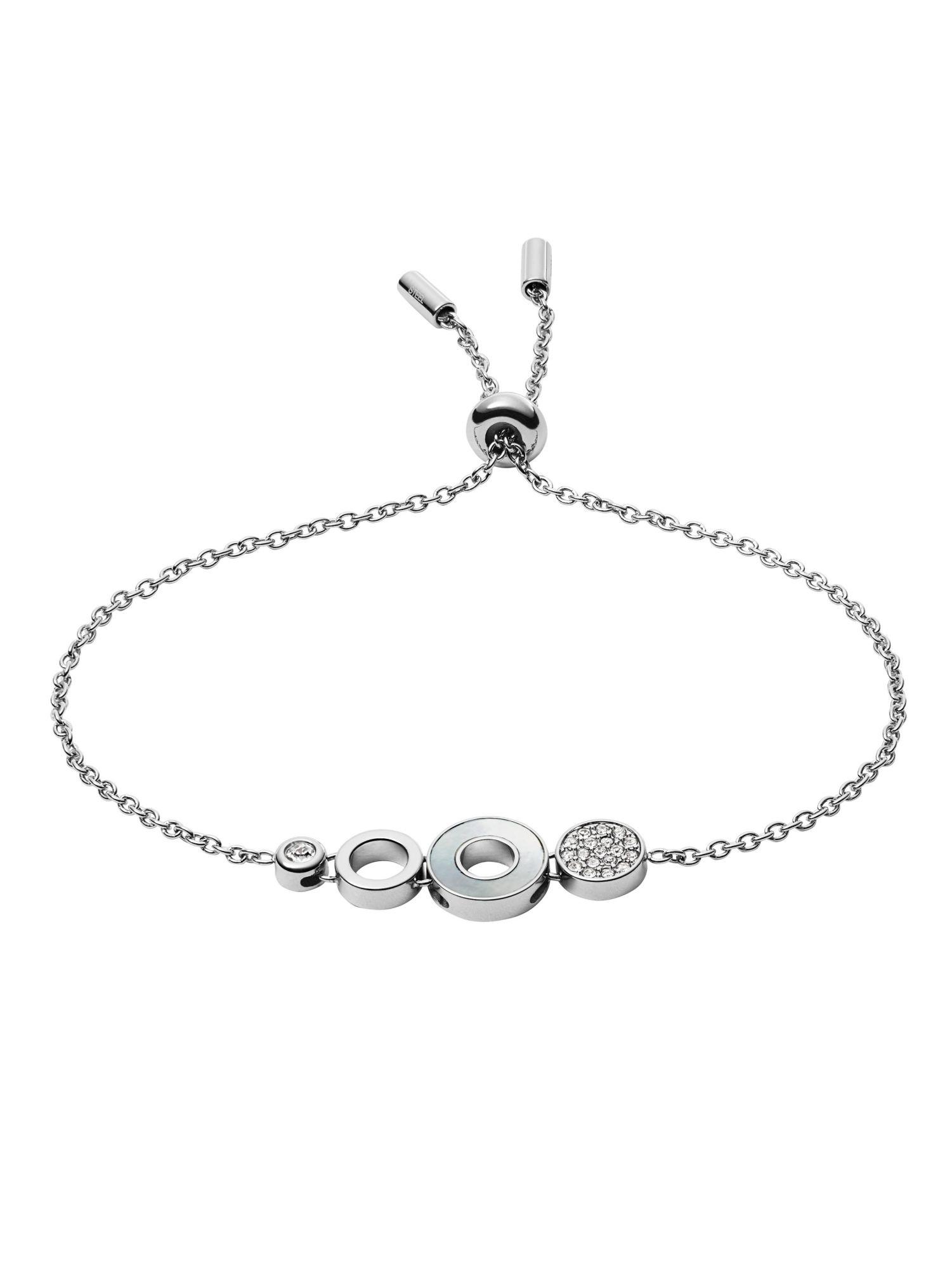 Fossil JF03141040 Damen Armband Edelstahl Silber Weiß 22 cm