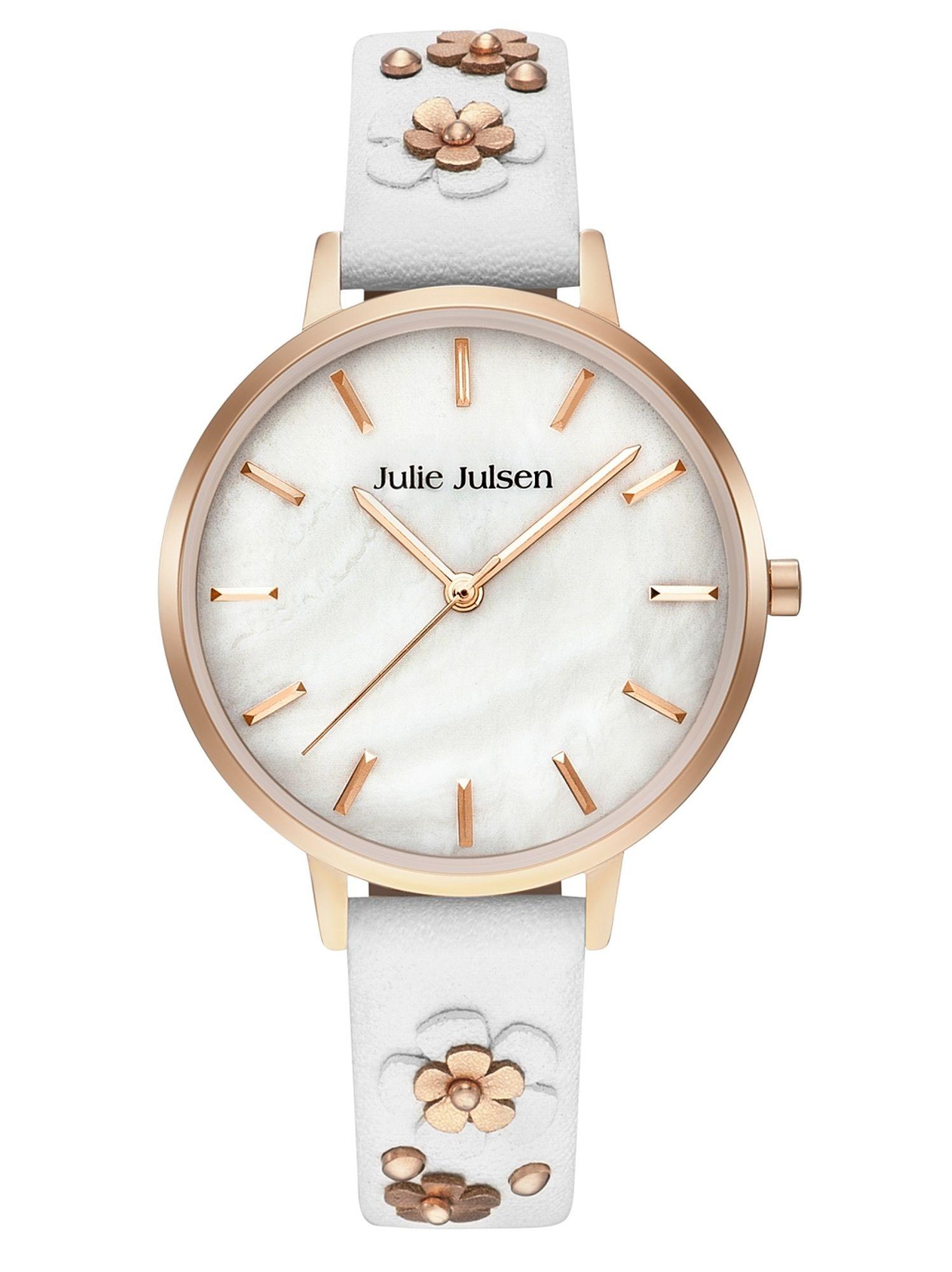 Julie Julsen JJW103RGL-9B Uhr Damenuhr Lederarmband Weiß